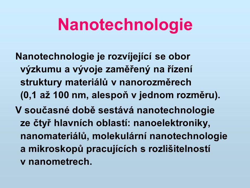 Nanotechnologie Nanotechnologie je rozvíjející se obor výzkumu a vývoje zaměřený na řízení struktury materiálů v nanorozměrech (0,1 až 100 nm, alespoň