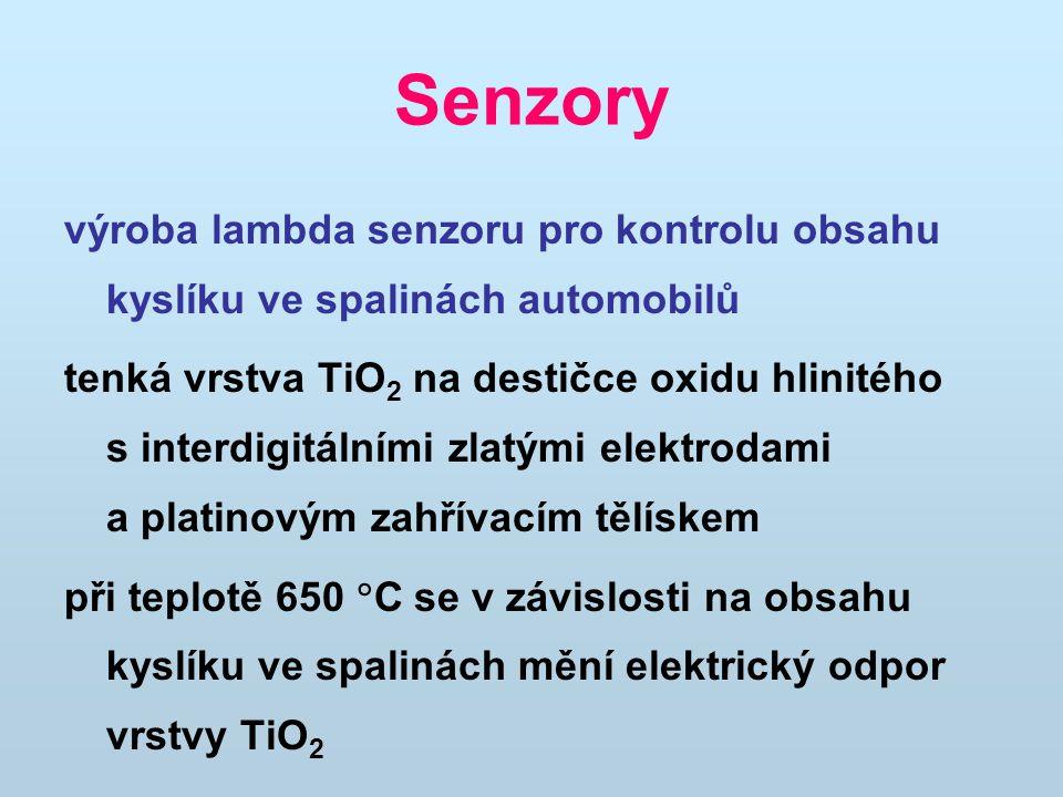 Senzory výroba lambda senzoru pro kontrolu obsahu kyslíku ve spalinách automobilů tenká vrstva TiO 2 na destičce oxidu hlinitého s interdigitálními zl