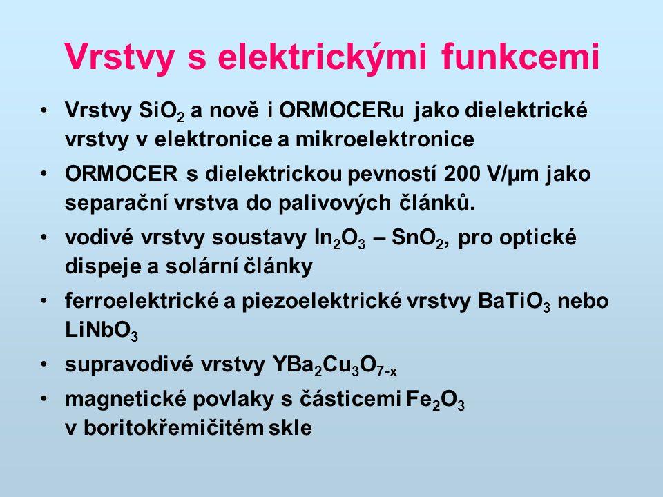 Vrstvy s elektrickými funkcemi Vrstvy SiO 2 a nově i ORMOCERu jako dielektrické vrstvy v elektronice a mikroelektronice ORMOCER s dielektrickou pevnos
