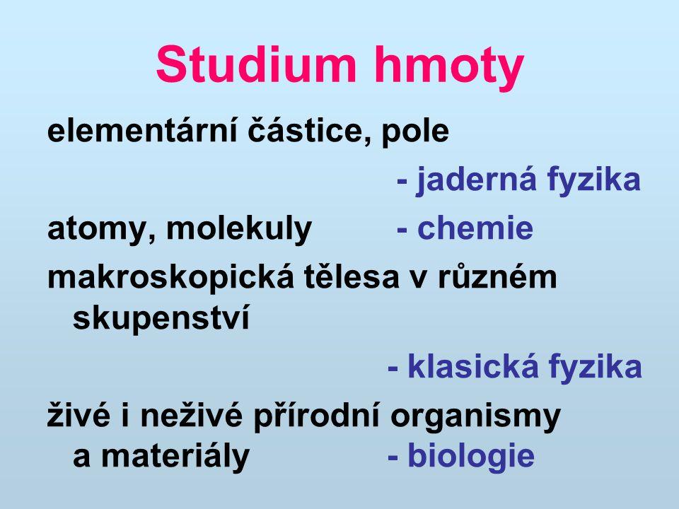 Studium hmoty elementární částice, pole - jaderná fyzika atomy, molekuly - chemie makroskopická tělesa v různém skupenství - klasická fyzika živé i ne