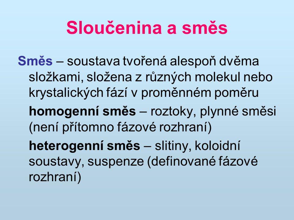 Sloučenina a směs Směs – soustava tvořená alespoň dvěma složkami, složena z různých molekul nebo krystalických fází v proměnném poměru homogenní směs