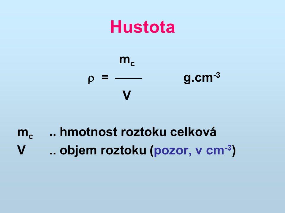 Hustota m c  =  g.cm -3 V m c.. hmotnost roztoku celková V.. objem roztoku (pozor, v cm -3 )
