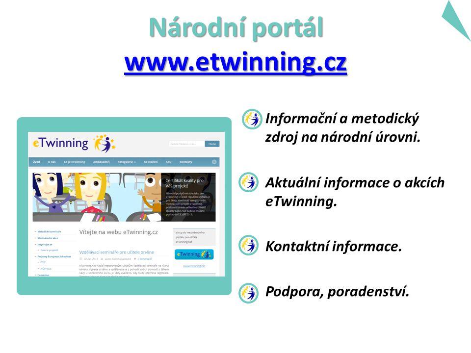 Národní portál www.etwinning.cz www.etwinning.cz Informační a metodický zdroj na národní úrovni.