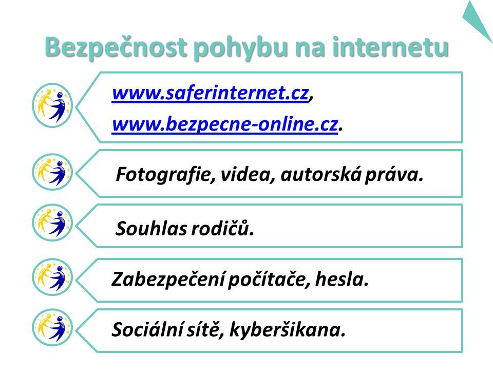 Bezpečnost pohybu na internetu www.saferinternet.czwww.saferinternet.cz, www.bezpecne-online.czwww.bezpecne-online.cz.