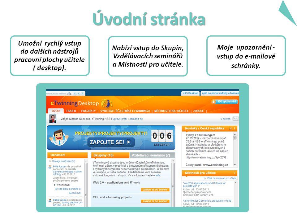 Úvodní stránka Umožní rychlý vstup do dalších nástrojů pracovní plochy učitele ( desktop).