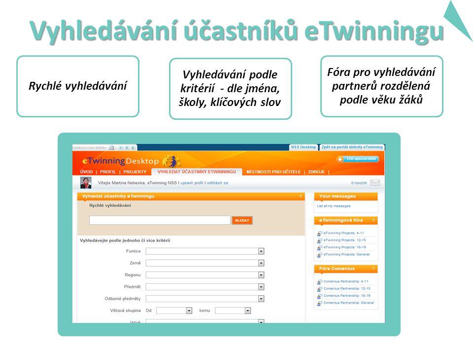 Vyhledávání účastníků eTwinningu Rychlé vyhledávání Vyhledávání podle kritérií - dle jména, školy, klíčových slov Fóra pro vyhledávání partnerů rozdělená podle věku žáků