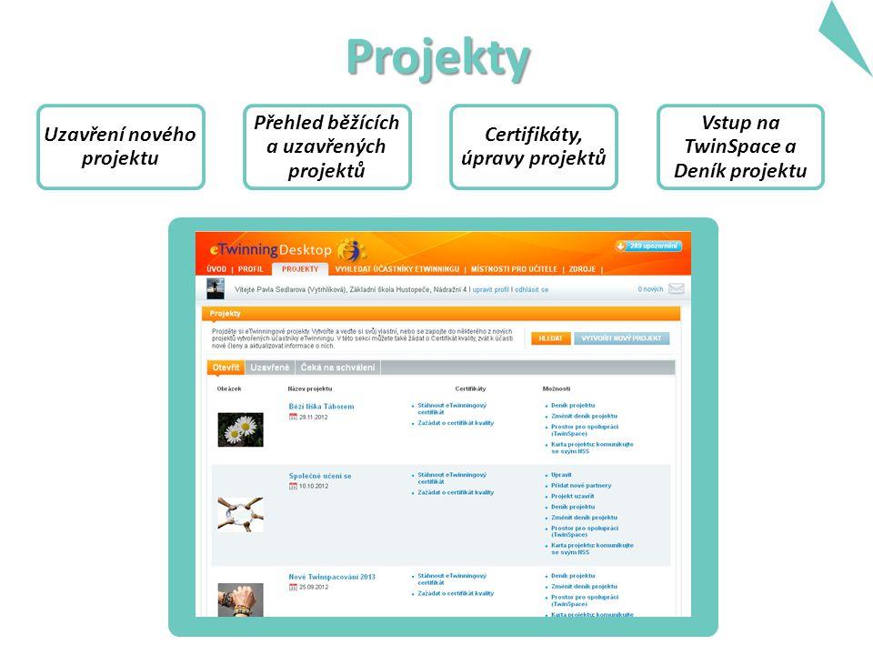 Projekty Uzavření nového projektu Přehled běžících a uzavřených projektů Certifikáty, úpravy projektů Vstup na TwinSpace a Deník projektu