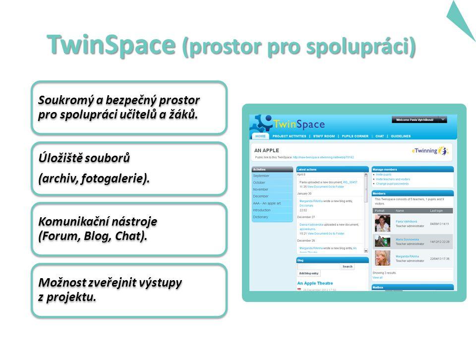 TwinSpace (prostor pro spolupráci) Soukromý a bezpečný prostor pro spolupráci učitelů a žáků.