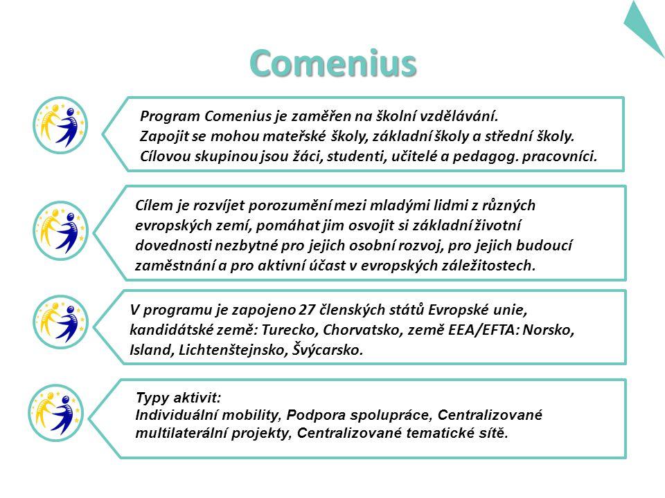 Comenius Program Comenius je zaměřen na školní vzdělávání.