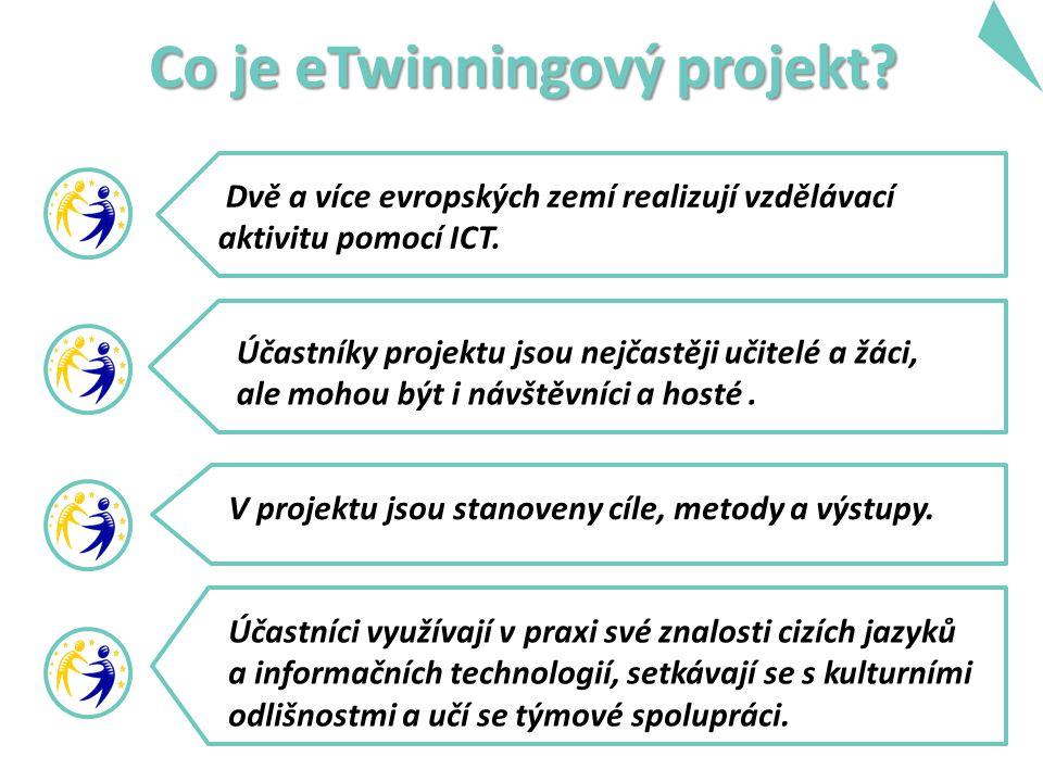 Co je eTwinningový projekt. Dvě a více evropských zemí realizují vzdělávací aktivitu pomocí ICT.