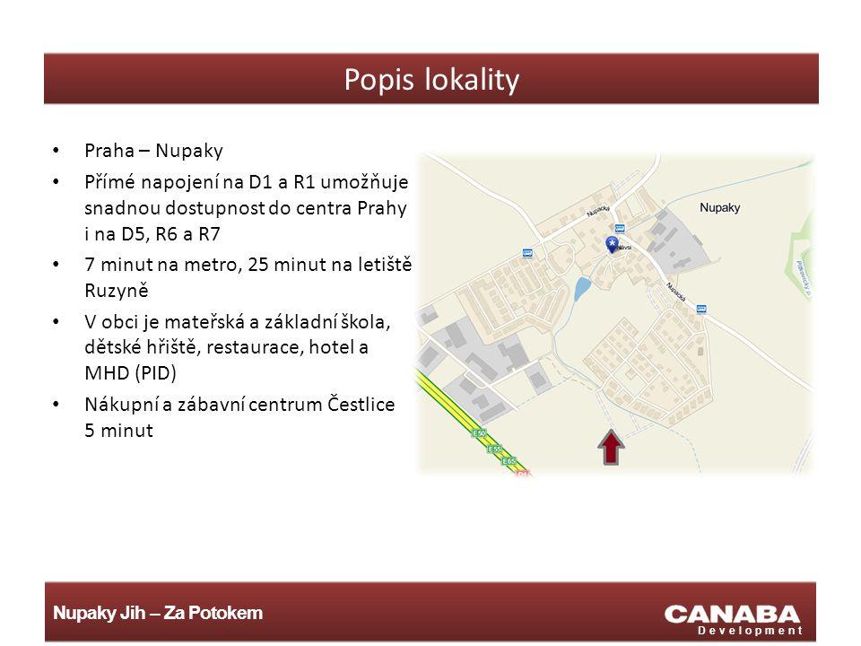 Nupaky Jih – Za Potokem Development Popis lokality Praha – Nupaky Přímé napojení na D1 a R1 umožňuje snadnou dostupnost do centra Prahy i na D5, R6 a