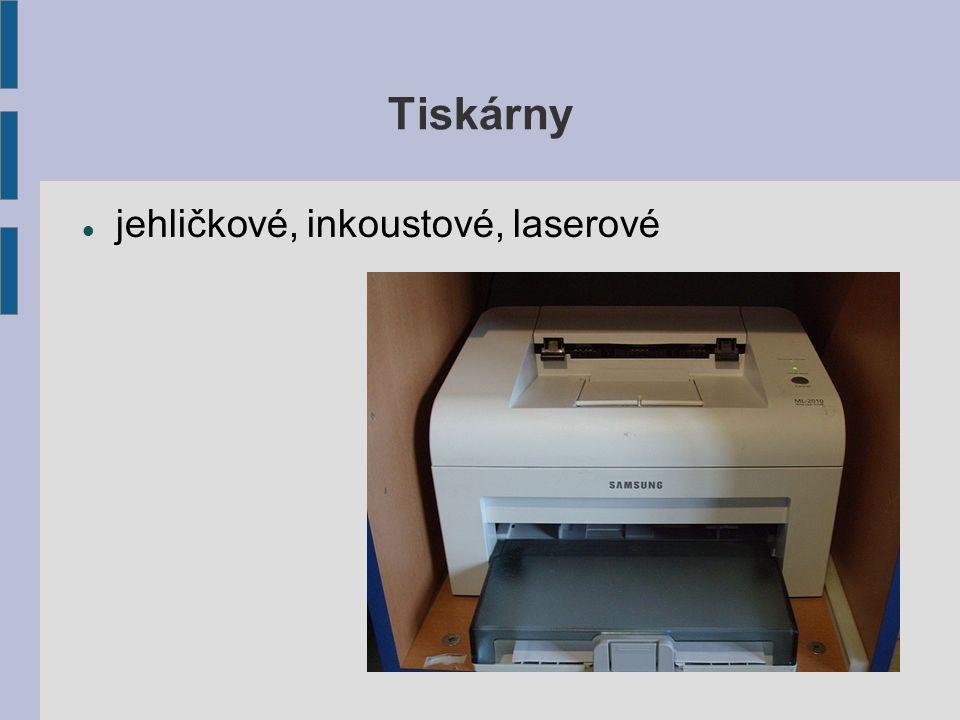 Tiskárny jehličkové, inkoustové, laserové