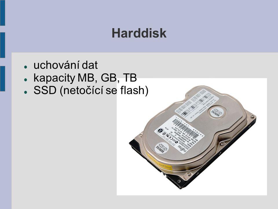 Harddisk uchování dat kapacity MB, GB, TB SSD (netočící se flash)