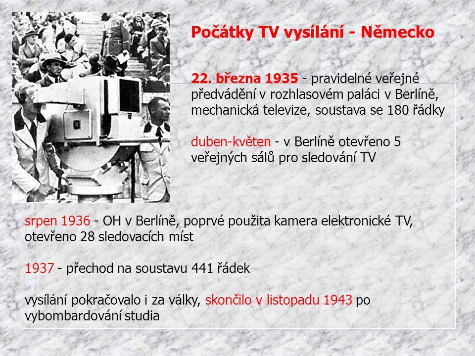 srpen 1936 - OH v Berlíně, poprvé použita kamera elektronické TV, otevřeno 28 sledovacích míst 1937 - přechod na soustavu 441 řádek vysílání pokračova