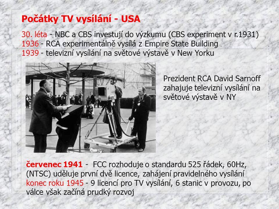 Počátky TV vysílání - USA 30. léta - NBC a CBS investují do výzkumu (CBS experiment v r.1931) 1936 - RCA experimentálně vysílá z Empire State Building