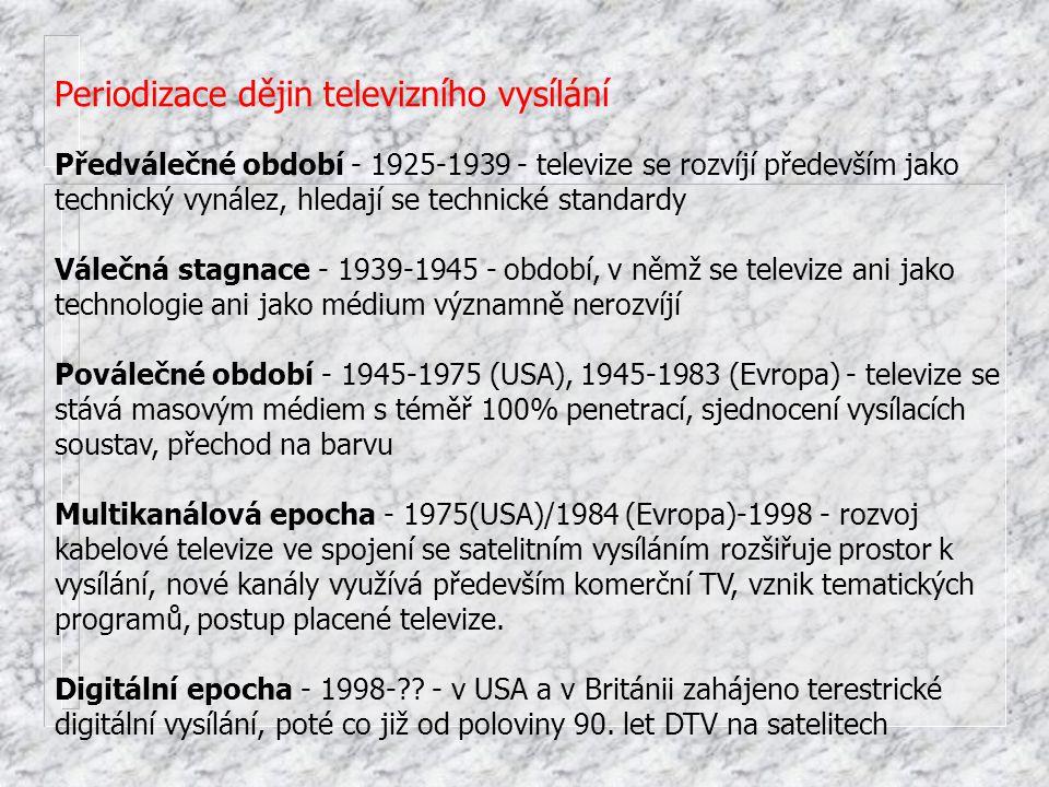 Periodizace dějin televizního vysílání Předválečné období - 1925-1939 - televize se rozvíjí především jako technický vynález, hledají se technické sta
