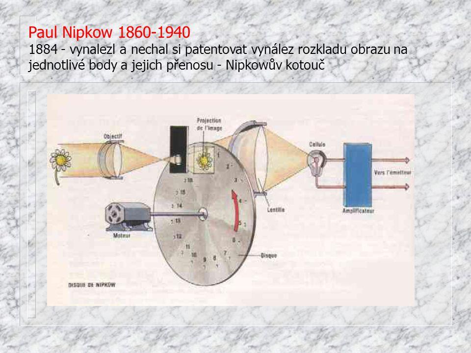 1897 - vynalezl katodovou trubici, na jejímž stínítku proud elektronů vyvolával obrazové efekty (princip katodové trubice později využit jak k vynálezu snímací elektronky ikonoskopu, tak ke konstrukci televizního přijímače) 1907 - ruský profesor Boris Rosing využívá Braunovu trubic jako přijímač, přenáší jednoduché geometrické tvary, v roce 1911 Rosingův asistent Zworykin experimentuje s myšlenkou Brita Campbella-Swintona, který navrhl využít Braunovu trubici jak pro příjem, tak pro snímání obrazu.