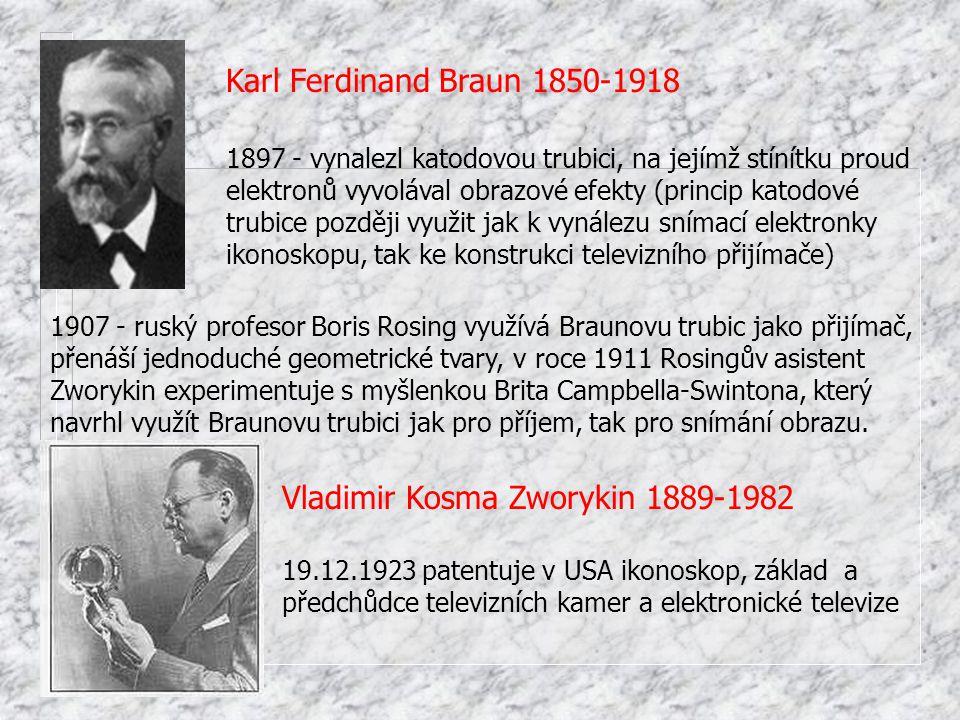 1897 - vynalezl katodovou trubici, na jejímž stínítku proud elektronů vyvolával obrazové efekty (princip katodové trubice později využit jak k vynález