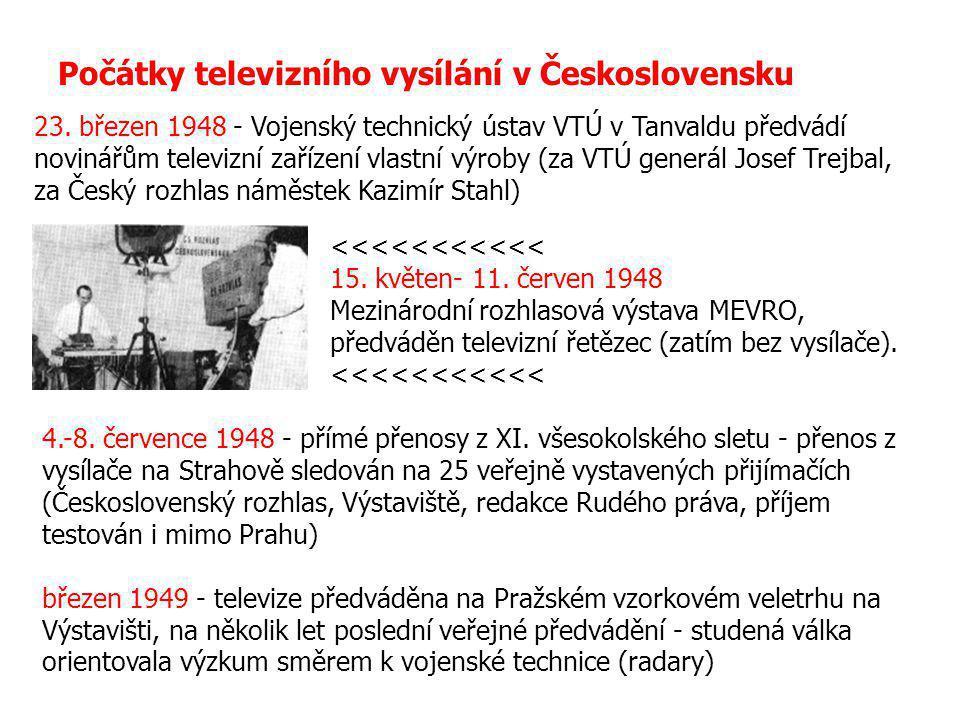 Počátky televizního vysílání v Československu 23. březen 1948 - Vojenský technický ústav VTÚ v Tanvaldu předvádí novinářům televizní zařízení vlastní