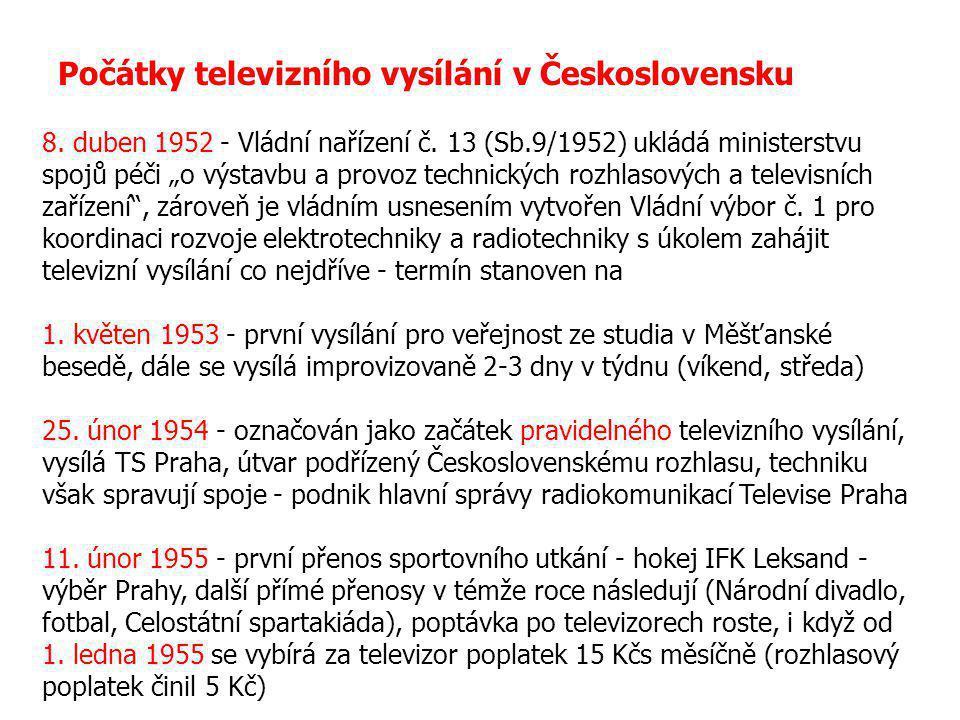 """Počátky televizního vysílání v Československu 8. duben 1952 - Vládní nařízení č. 13 (Sb.9/1952) ukládá ministerstvu spojů péči """"o výstavbu a provoz te"""