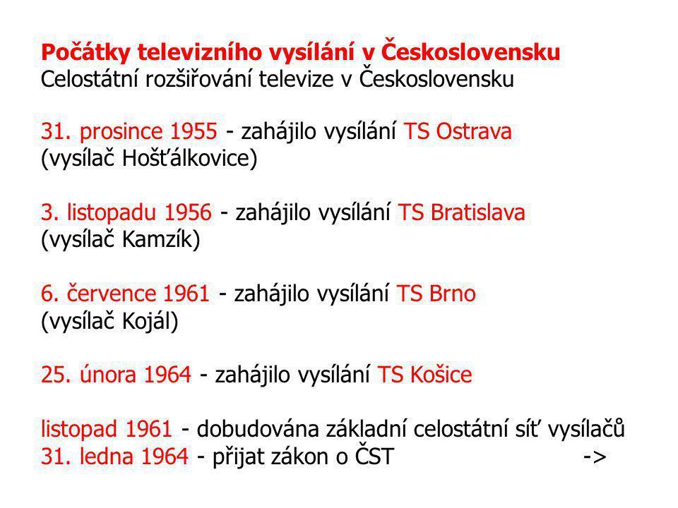Počátky televizního vysílání v Československu Celostátní rozšiřování televize v Československu 31. prosince 1955 - zahájilo vysílání TS Ostrava (vysíl