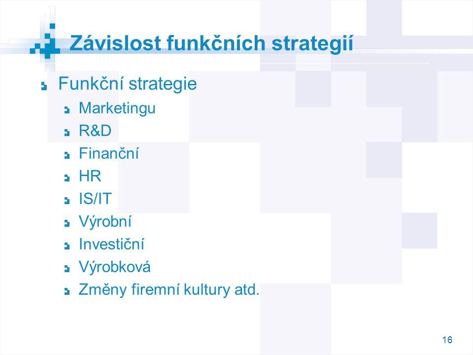 16 Funkční strategie Marketingu R&D Finanční HR IS/IT Výrobní Investiční Výrobková Změny firemní kultury atd. Závislost funkčních strategií