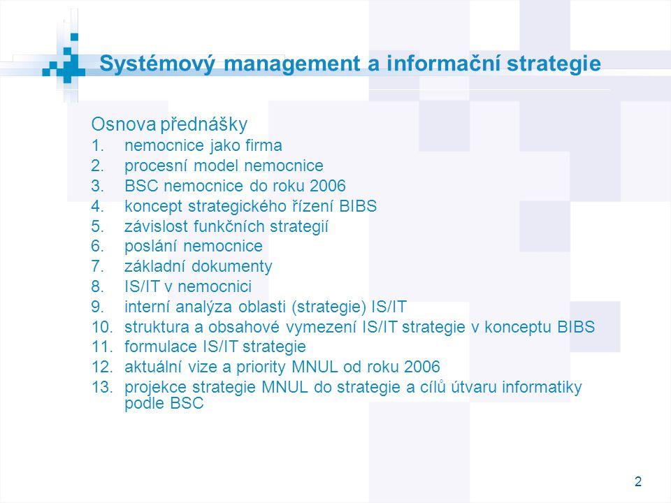 2 Osnova přednášky  nemocnice jako firma  procesní model nemocnice  BSC nemocnice do roku 2006  koncept strategického řízení BIBS  závislost