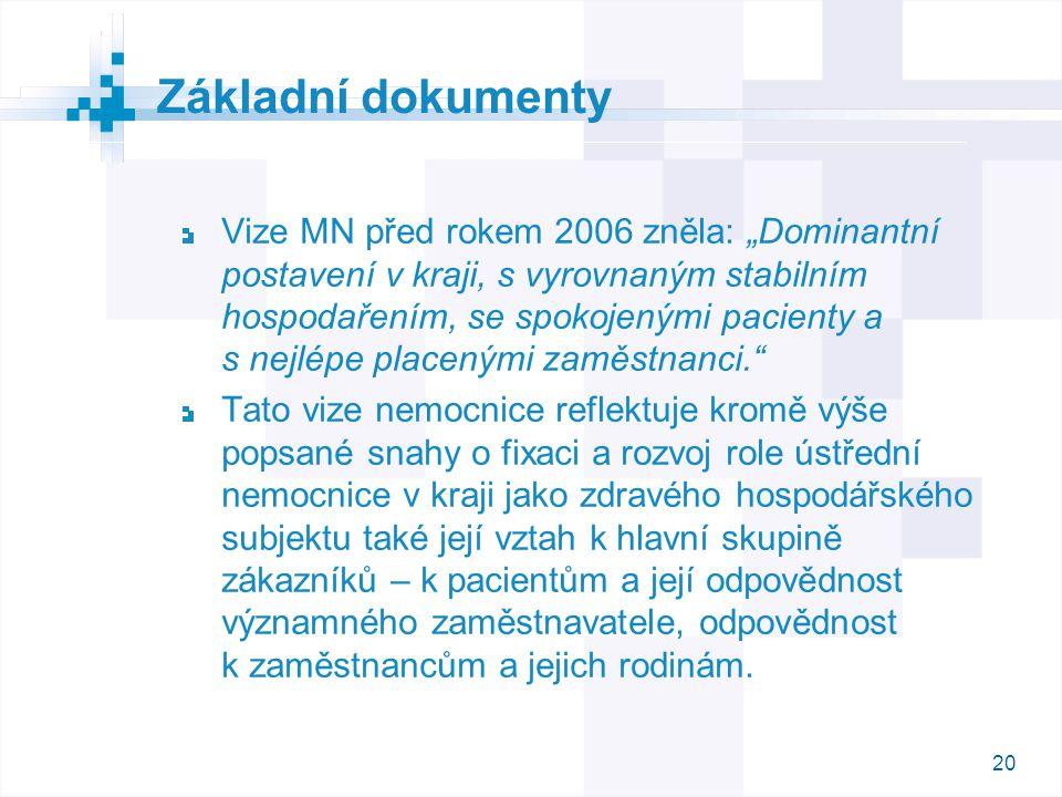 """20 Vize MN před rokem 2006 zněla: """"Dominantní postavení v kraji, s vyrovnaným stabilním hospodařením, se spokojenými pacienty a s nejlépe placenými za"""