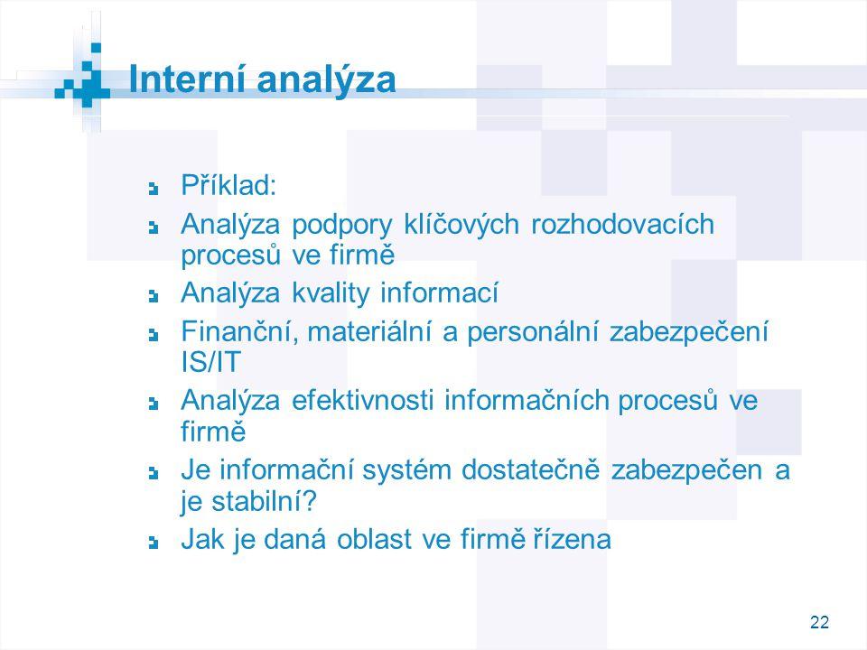 22 Příklad: Analýza podpory klíčových rozhodovacích procesů ve firmě Analýza kvality informací Finanční, materiální a personální zabezpečení IS/IT Ana