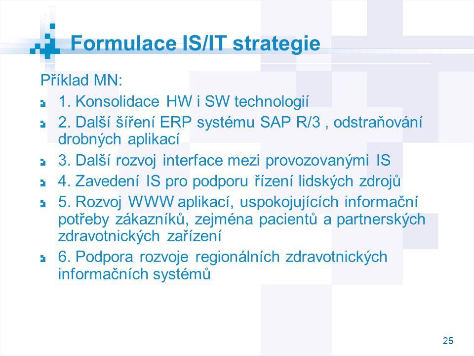 25 Příklad MN: 1. Konsolidace HW i SW technologií 2. Další šíření ERP systému SAP R/3, odstraňování drobných aplikací 3. Další rozvoj interface mezi p