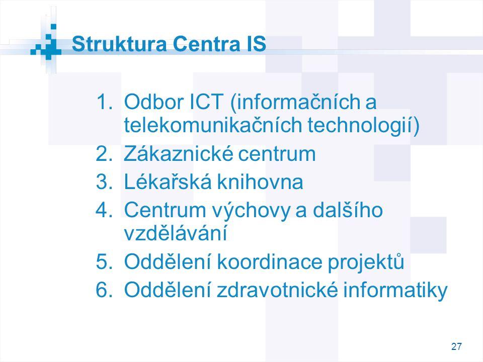 27 Struktura Centra IS  Odbor ICT (informačních a telekomunikačních technologií)  Zákaznické centrum  Lékařská knihovna  Centrum výchovy a dal