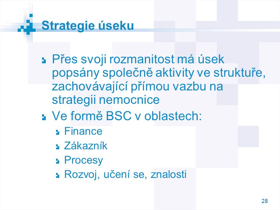 28 Strategie úseku Přes svoji rozmanitost má úsek popsány společně aktivity ve struktuře, zachovávající přímou vazbu na strategii nemocnice Ve formě B
