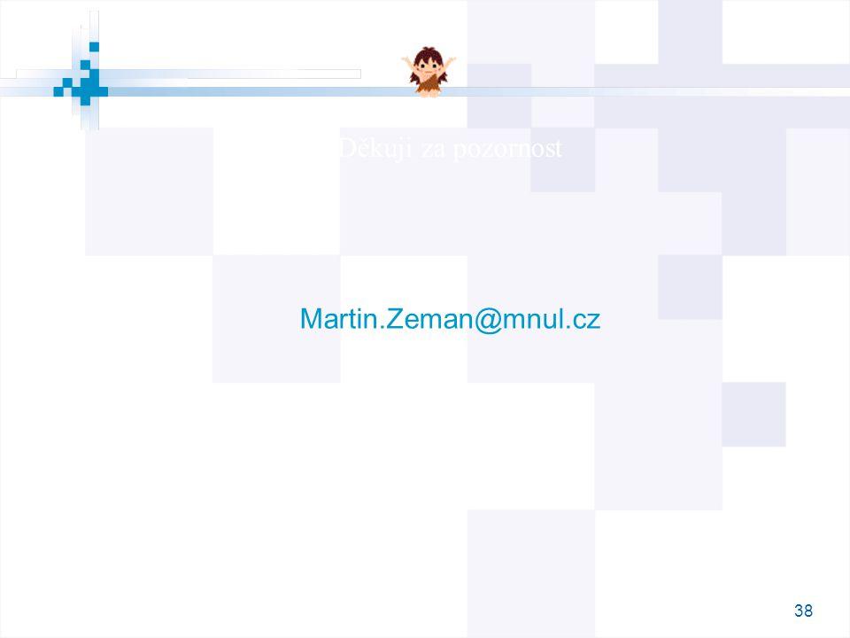 38 Děkuji za pozornost Martin.Zeman@mnul.cz