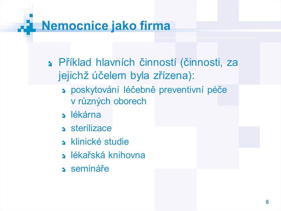 6 Příklad hlavních činností (činnosti, za jejichž účelem byla zřízena): poskytování léčebně preventivní péče v různých oborech lékárna sterilizace kli