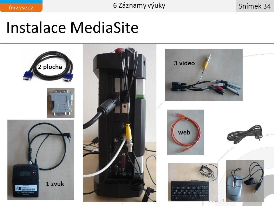 Instalace MediaSite Manažer obchoduÚvodní informační blok Snímek 34 6 Záznamy výuky 2 plocha 1 zvuk 3 video web