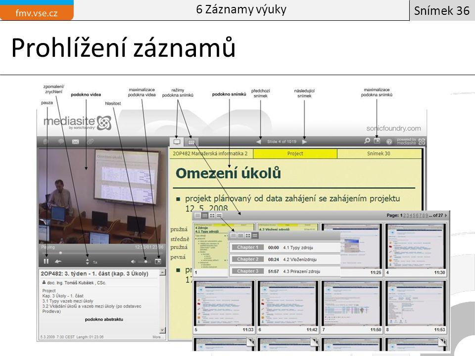 Prohlížení záznamů Manažer obchoduÚvodní informační blok Snímek 36 6 Záznamy výuky