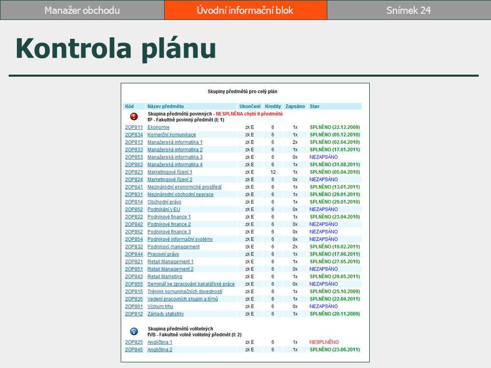 Kontrola plánu Úvodní informační blokSnímek 24Manažer obchodu