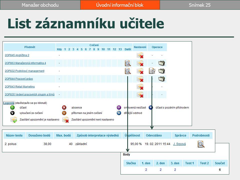 List záznamníku učitele Úvodní informační blokSnímek 25Manažer obchodu