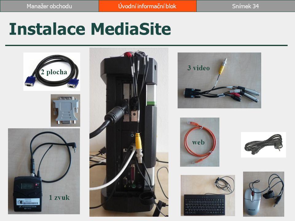 Instalace MediaSite Úvodní informační blokSnímek 34Manažer obchodu 2 plocha 1 zvuk 3 video web
