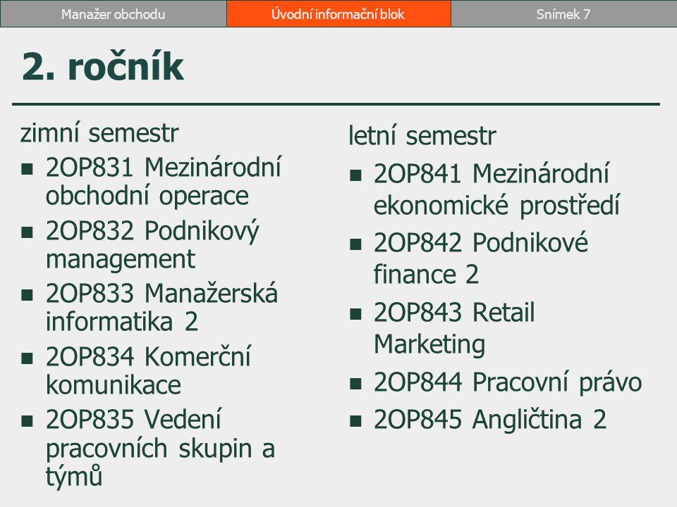 2. ročník zimní semestr 2OP831 Mezinárodní obchodní operace 2OP832 Podnikový management 2OP833 Manažerská informatika 2 2OP834 Komerční komunikace 2OP