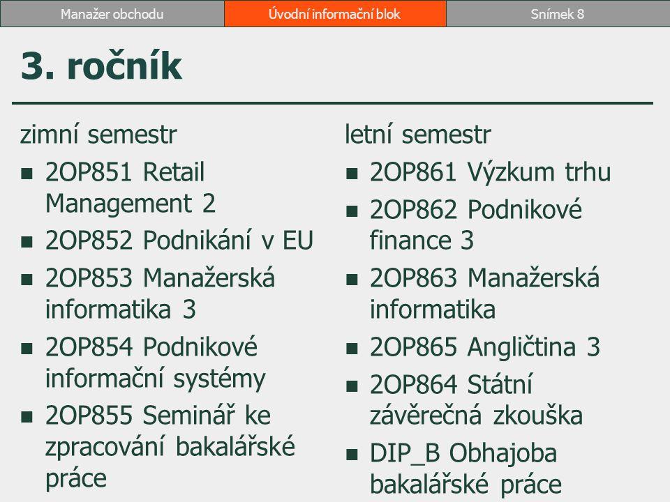3. ročník zimní semestr 2OP851 Retail Management 2 2OP852 Podnikání v EU 2OP853 Manažerská informatika 3 2OP854 Podnikové informační systémy 2OP855 Se