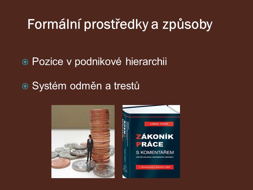 Formální prostředky a způsoby  Pozice v podnikové hierarchii  Systém odměn a trestů