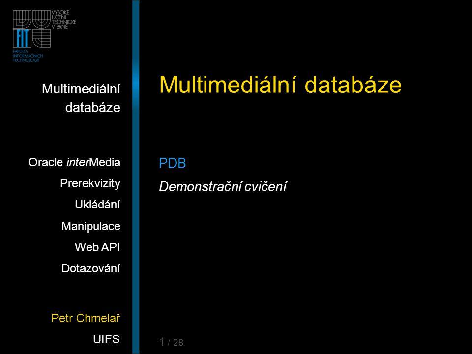 Petr Chmelař UIFS Multimediální databáze Oracle interMedia Prerekvizity Ukládání Manipulace Web API Dotazování 1 / 28 Multimediální databáze PDB Demon