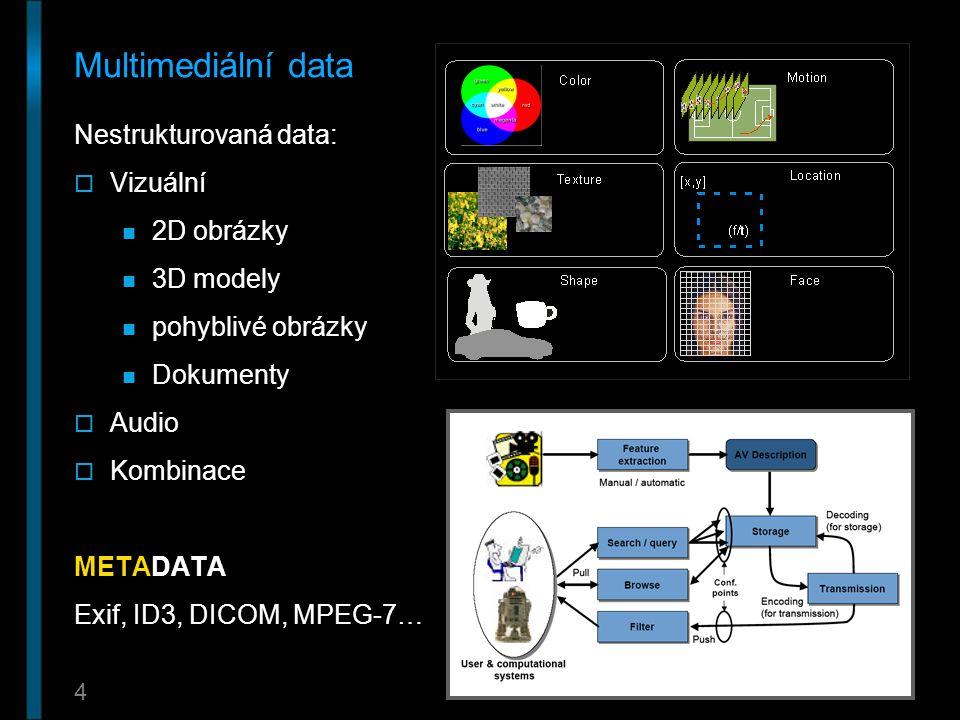 4 Multimediální data Nestrukturovaná data:  Vizuální 2D obrázky 3D modely pohyblivé obrázky Dokumenty  Audio  Kombinace METADATA Exif, ID3, DICOM,