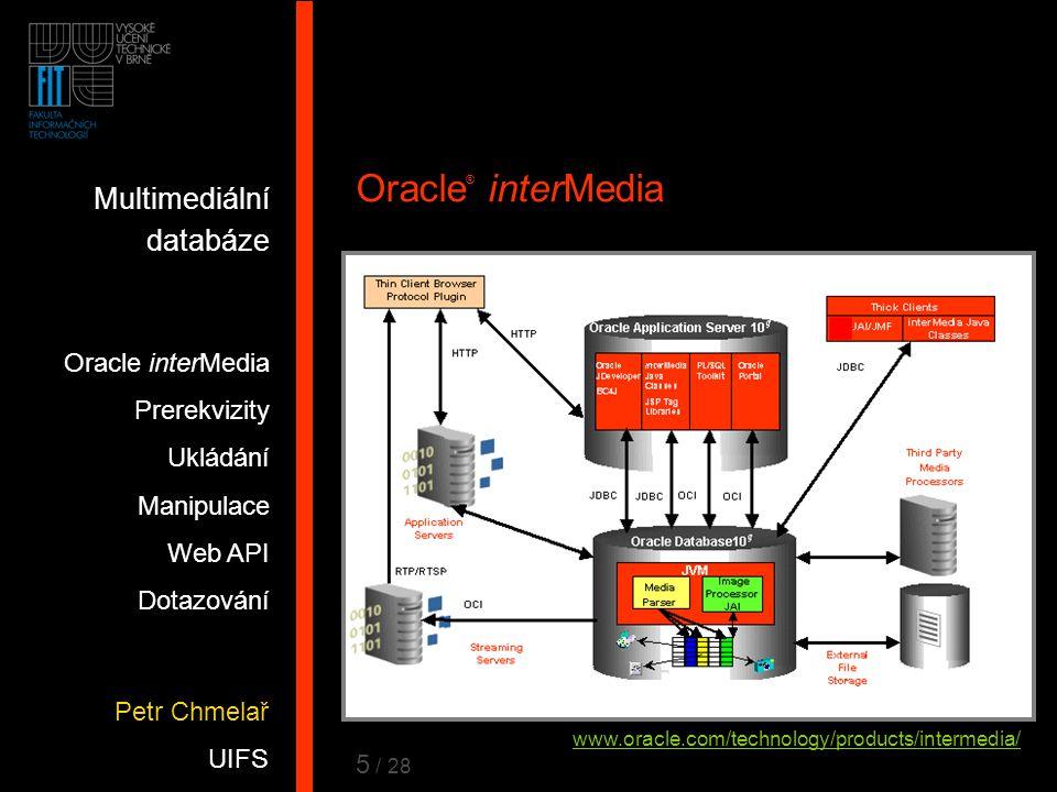 6 Oracle ® interMedia  Rozšíření DB pro uchování, správu a dotazování obrázků, audia, videa a podobných pro libovolné aplikace  Podporuje většinu formátů (JPEG, MPEG, QT, RM, …)  Manipulace, zpracování obrazu, komprese  Pro vývoj aplikací JDeveloper - ADF/UIX, Swing Application server - Servlet / JSP PL/SQL, Oracle Portal Streaming server (RealMedia, MS), …  Rozšiřitelný (o zpracování řeči) www.oracle.com/technology/