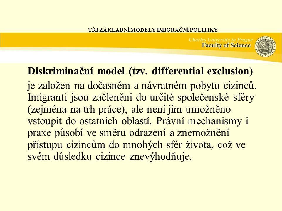 TŘI ZÁKLADNÍ MODELY IMIGRAČNÍ POLITIKY Diskriminační model (tzv.