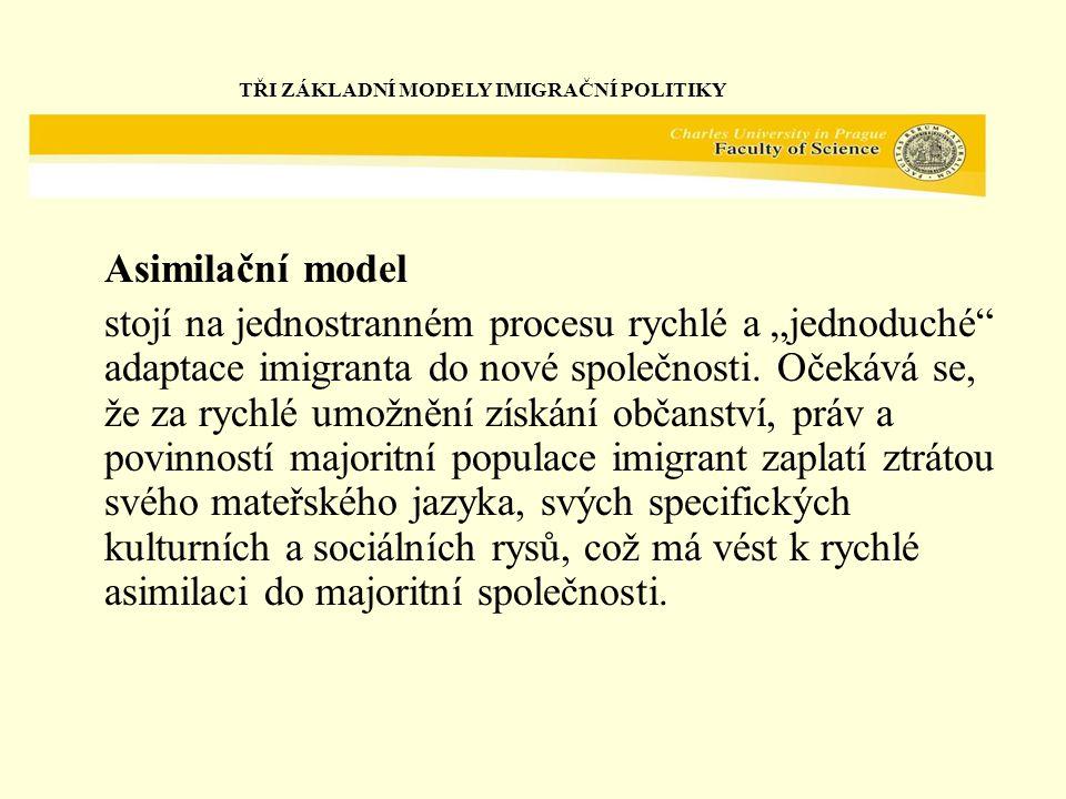 """Asimilační model stojí na jednostranném procesu rychlé a """"jednoduché adaptace imigranta do nové společnosti."""