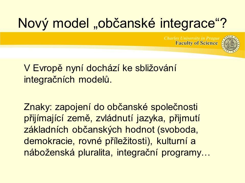 """Nový model """"občanské integrace .V Evropě nyní dochází ke sbližování integračních modelů."""