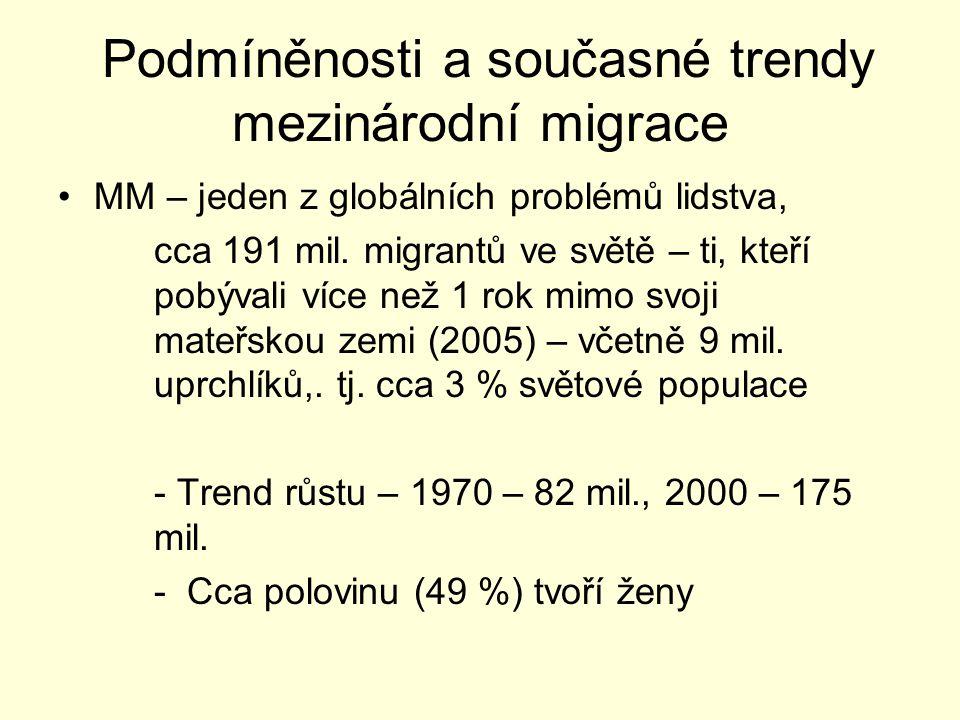 Podmíněnosti a současné trendy mezinárodní migrace -Problém statistiky a definic -Globalizace … rostoucí disparita mezi vyspělým a rozvojovým světem … růst mobility -Zkracování délky migrace v čase -Smršťování světa -Zvyšování různorodosti migračních typů -Klesající význam států v řízení migrace -Schopnost migrace ovlivňovat různorodé struktury společnosti (kvalitativní změny)
