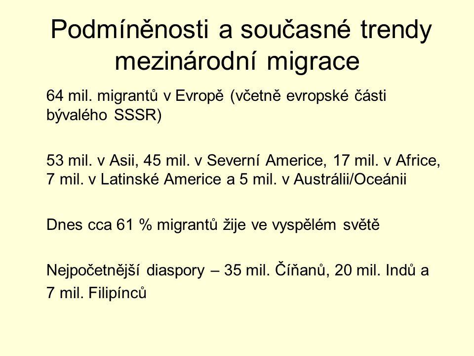 Podmíněnosti a současné trendy mezinárodní migrace 64 mil.
